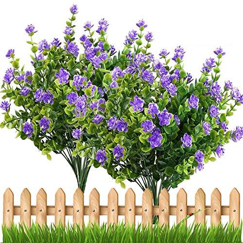 Kunstplanten Kunstbloemen Outdoor Plant Heesters Buxus Plastic Bladeren Fake Struiken Greenery Window Huis Yard Garden Wedding Decor Kunstbloem (Color : Purple)