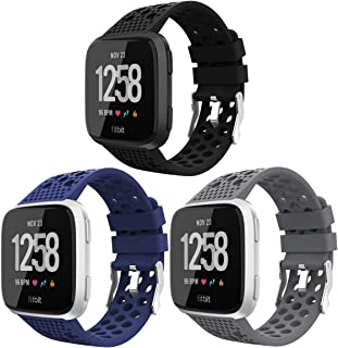 Replacement Compatible for Fitbit Versa Bands Black,Breathable Bands Sport Watch Strap Wristband Compatible with Fitbit Versa/Versa Lite Edition/Versa Special Edition/Versa 2 for Women Men 3 Pack