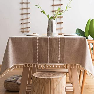 Pahajim Stitching Tassel Tablecloth Heavy Weight Cotton Linen Table Cloths Fabric Dust-Proof Table Cover for Kitchen Dinni...