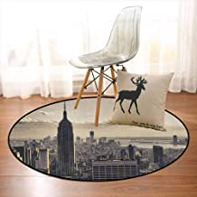New York Children's Bedroom Carpet Aerial View of NYC in Winter American Architecture Historical Popular Metropolis Soft Fluffy D35.4 Inch Beige Grey