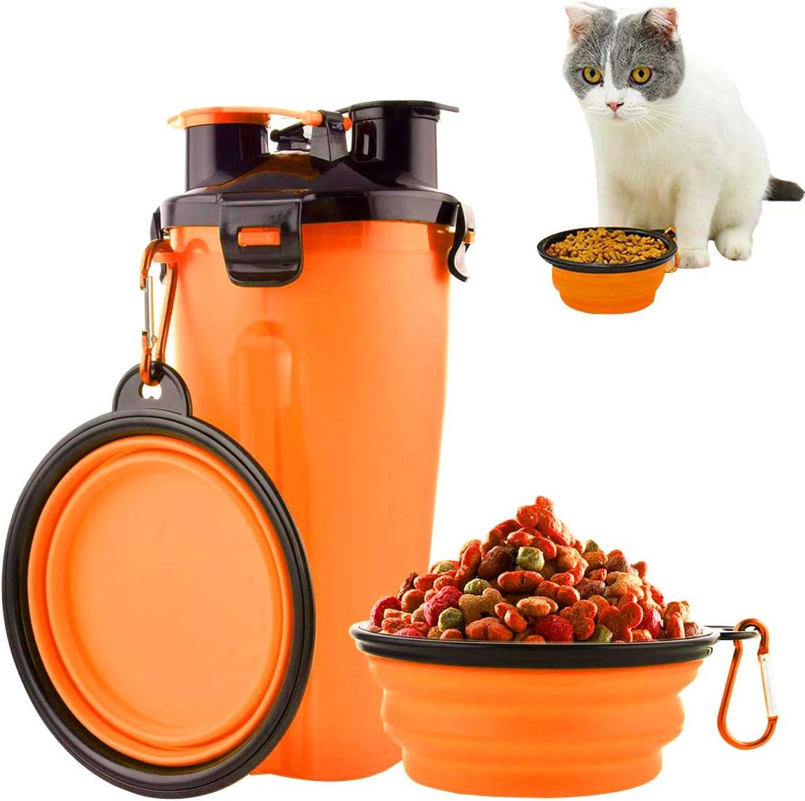 Osuter Botella de Agua Perros, Botella Perros Portatil con 2PCS Plegable Tazones Mascotas Pet Water Bottle para Aire Libre Caminar Viajando