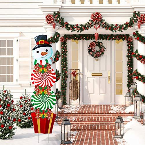 Cartelli per Cortile Natale Pali Decorazioni Natale Pupazzo di Neve Plastica Decorazioni Giardino Caramelle Pupazzo di Neve Aperto Cartelli Giardino Pali per Esterno Ornamenti Invernali, 54 Pollici