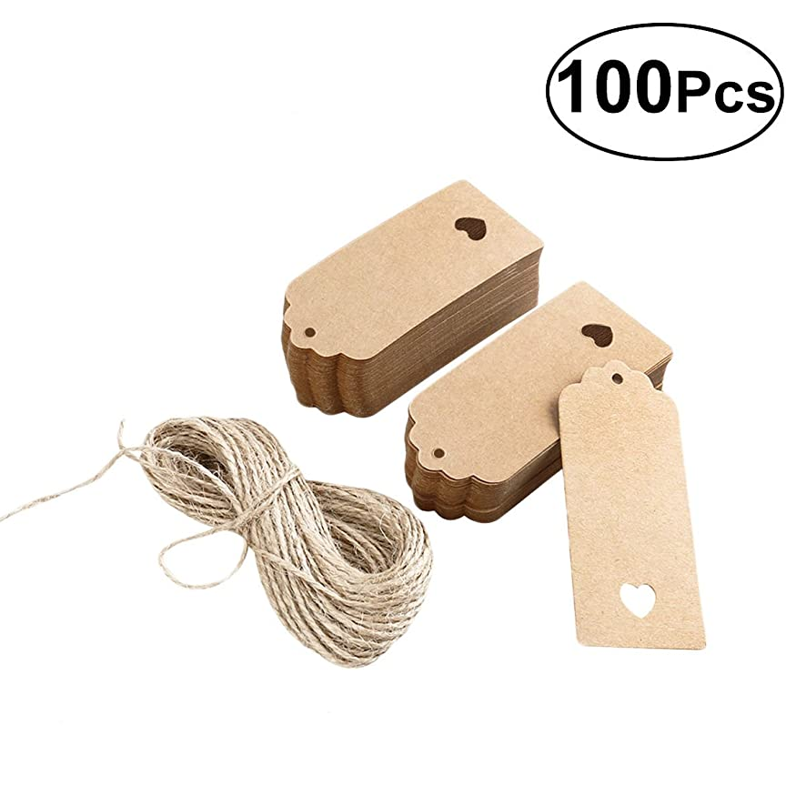 Tinksky Kraft Paper Card Blank Brown Tag Wedding Favour Gift Tag DIY Tag Luggage Tag Price Label with 10M Rope ,9*4cm,Pack of 100