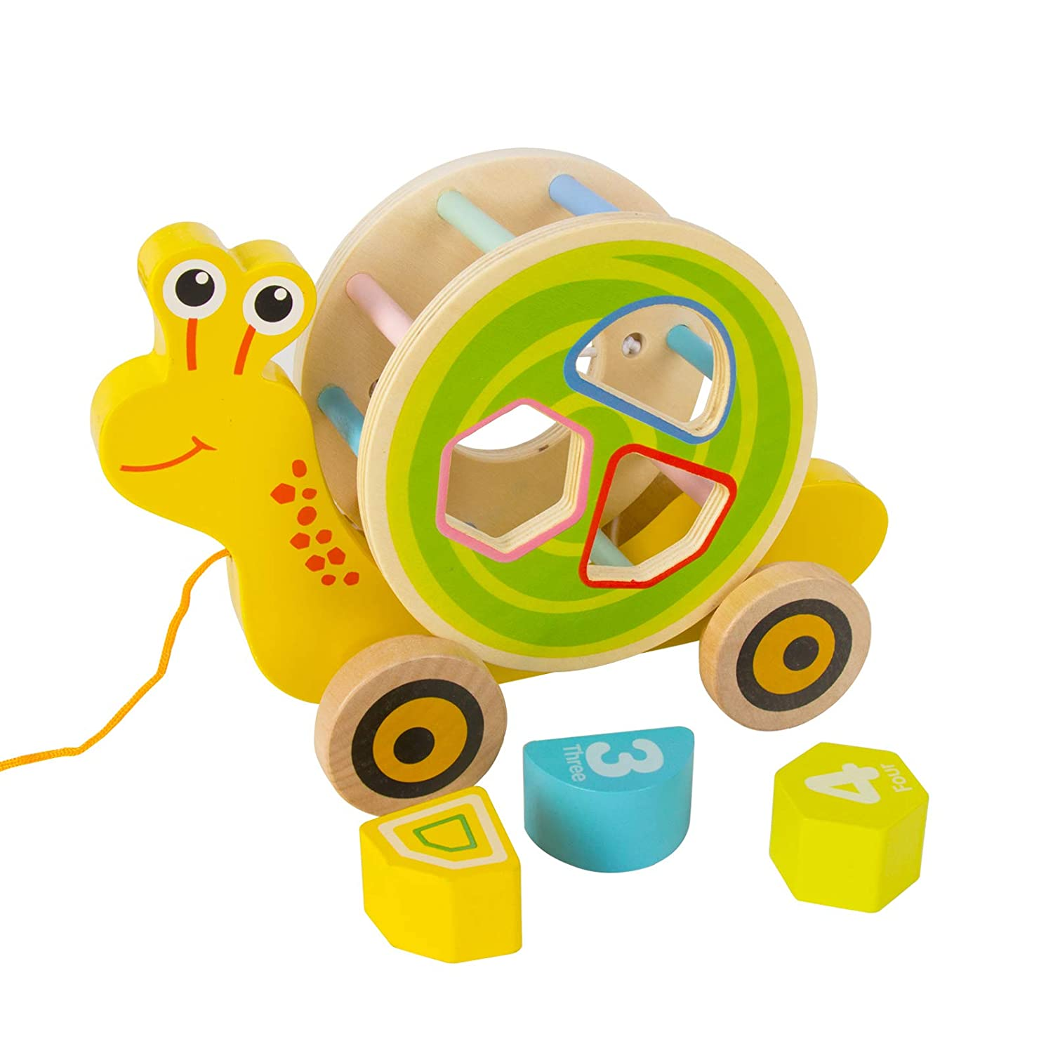 Walk-A-Long Snail Wooden Limited price sale Pull Toy Shape NEW Push Sorter Ca