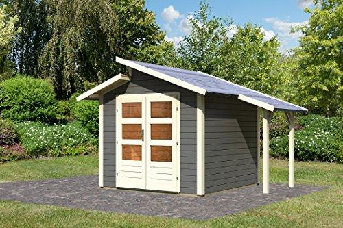 Unbekannt Karibu Gartenhaus Grönelo mit Schleppdach terragrau 28 mm