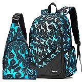 Bunie Boys Backpack for School Large Bookbag Waterproof Schoolbag Pencil Case Sling Bag Set for Middle High Casual Daypack (Blue)
