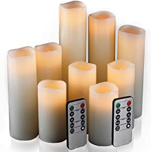 "Flameless Candles, Led Candles Set of 9(H 4"" 5"" 6"" 7"" 8"" 9"" xD 2.2"") Ivory Real Wax Battery Candles with Remote Timer (Batteries not Included)"