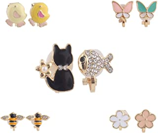 Fashion Cute Small Bee Flower Butterfly Rabbit Crown Clip on Earrings Without Piercing for Girl's Baby
