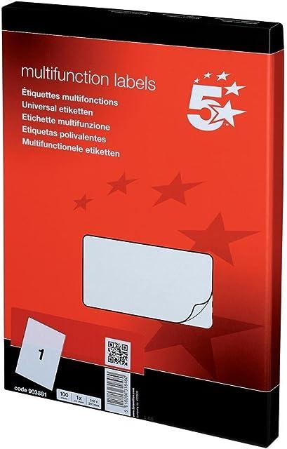 5 Star - Set de 100 etiquetas para fotocopiadora láser y de tinta (1 por hoja 297 x 210 mm)