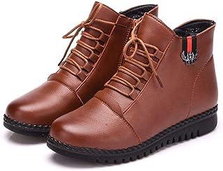 [GoldFlame-JP] ショートブーツ レディース 裏起毛 シニア 婦人靴 厚底靴 あったか 保温 滑らない ファスナー レースアップ 雪対応 ムトンブーツ 大きいサイズ ブラック ブーツ シニアブーツ 25.5cm 黒