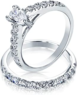 1CT Pear Cubic Zirconia Teardrop Solitaire Thin Pave Band AAA CZ Engagement Wedding Ring Set 925 Sterling Silver