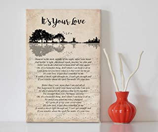 """PENNYWIS Decor Gift - It`s Your Love - Song Lyrics Guitar Shaped Trees Portrait Canvas Wall Art Print (24"""" x 36"""" x 0.75"""")"""