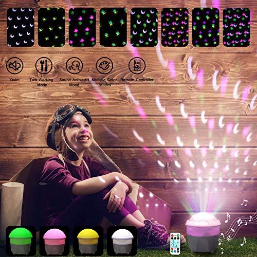 Preisvergleich Produktbild Zeonetak Nachtlicht Projektor Lampe 2 in 1 LED,  Sternenhimmel Projektor Nachtlicht für Dekoration Weihnachten Christmas Party Geburtstag Home, Timer,  Sound Activated Rotierender,  Fernbedienung