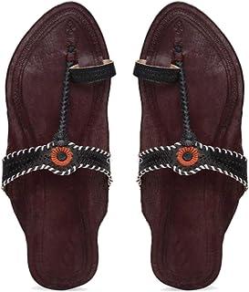 KALAPURI� Ladies Kolhapuri Chappal in Genuine Leather with Brown Pointed Shape Base and Tiny Black Upper. Handmade in Kolh...