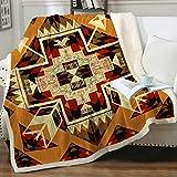 Sleepwish Aztec Southwestern Soft Fleece Throw Blanket Hippy Sherpa Blanket Warm Soft Vibrant Western Decor for American West Inspired Bedroom, Orange and Gold Throw (50' X 60')