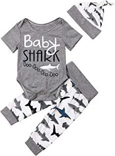 Newborn Baby Boys 3Pcs/Set Outfits Baby Shark Short Sleeve Letter Print Romper + Cartoon Shark Pants + Hats Clothes Set (18-24 Months, Grey)