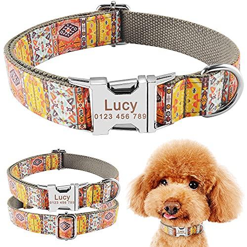 Verstellbare Halsbänder mit Nylon-Print Personalisiertes Hundehalsband Welpe Mittelgroß Hundeausweis Haustieranhänger Benutzerdefinierter gravierter NameHundehalsband-M (31-50 cm)