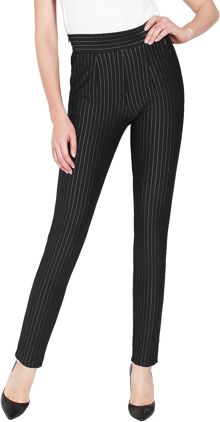 2LUV Women's Stripe Ankle Dress Pants w/Side Pocket and Zip Black M