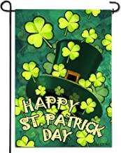 Anley  Double Sided  Premium Happy St. Patrick's Day Garden Flag, Green Hat with Clover Decorative Garden Flags - Weather Resistant & Double Stitched - 18 x 12.5 Inch