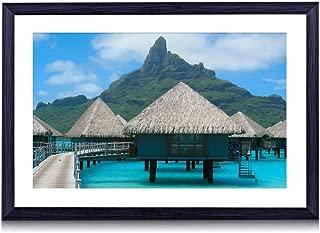 GLITZFAS Tahiti - Beach - #10507- Art Print Black Wood Framed Wall Art Picture (16x12 inches Framed)