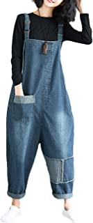 Women's Loose Baggy Cropped Harem Pants Denim Bib Overalls Jumpsuit Rompers