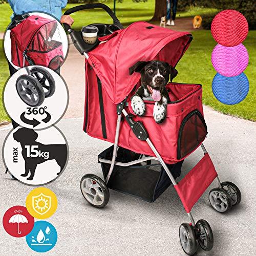 Leopet® Hundebuggy für Hunde - bis 15 kg, aus Wasserdichtem Material, mit Klappfunktion und Praktischer Einkaufstasche, verfügbar - Pet Jogger, Tiere Wagen, Buggy Stroller