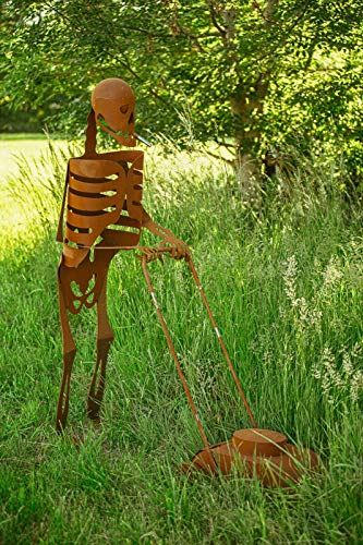 Ferrum Art Metallskulptur Skulptur Skelett mit Rasenmäher Lebensgroß Statue Kunstobjek Figur