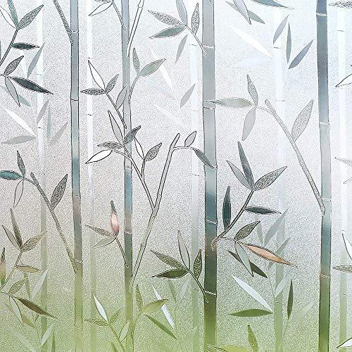 Película para ventanas de privacidad 3D coloreada Película de vidrio para ventanas estática sin adhesivo Película para ventanas mate de bambú Película autoadhesiva de privacidad opaca A68 30x100cm