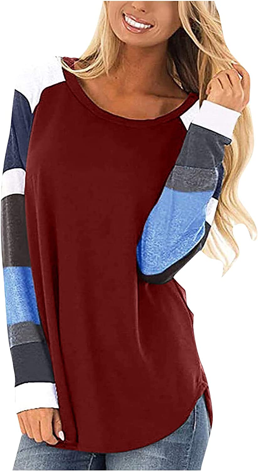 felwors Plus Size Tops for Women, Womens Color Block Round Neck Loose T Shirts Blouses Casual Long Sleeve Tunic Tops