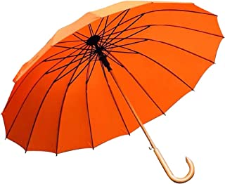 Household Umbrellas Wooden Handle Umbrellas Solid Wood Curved Handles Windproof Double Umbrellas Five Colors Available Huhero (Color : Orange)