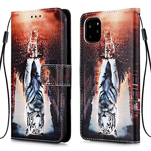 """Nadoli Leder Hülle für iPhone 12 6.1"""",Bunt Katze Tiger Malerei Ultra Dünne Magnetverschluss Standfunktion Handyhülle Tasche Brieftasche Etui Schutzhülle"""
