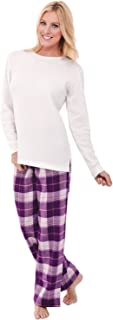 Womens Flannel Pajamas, Thermal Knit Top Cotton Pj Set