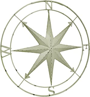 Zeckos Compass Rose Lightly Distressed Metal Wall Hanging