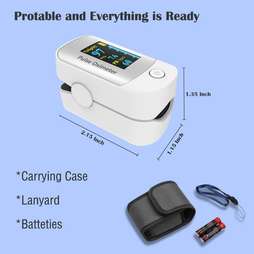 Pulse oximeter fingertip with Plethysmograph and Perfusion Index, Portable Blood Oxygen Saturation Monitor for Heart Rate and SpO2 Level, O2 Monitor Finger for Oxygen,Pulse Ox,Oxi, (White)