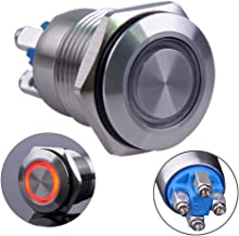 Ulincos Touch Switch UT19T2 Stepless Dimming Switch DC 6V to 24V Blue LED Suitable for 19mm 3//4 Mounting Hole Recessed