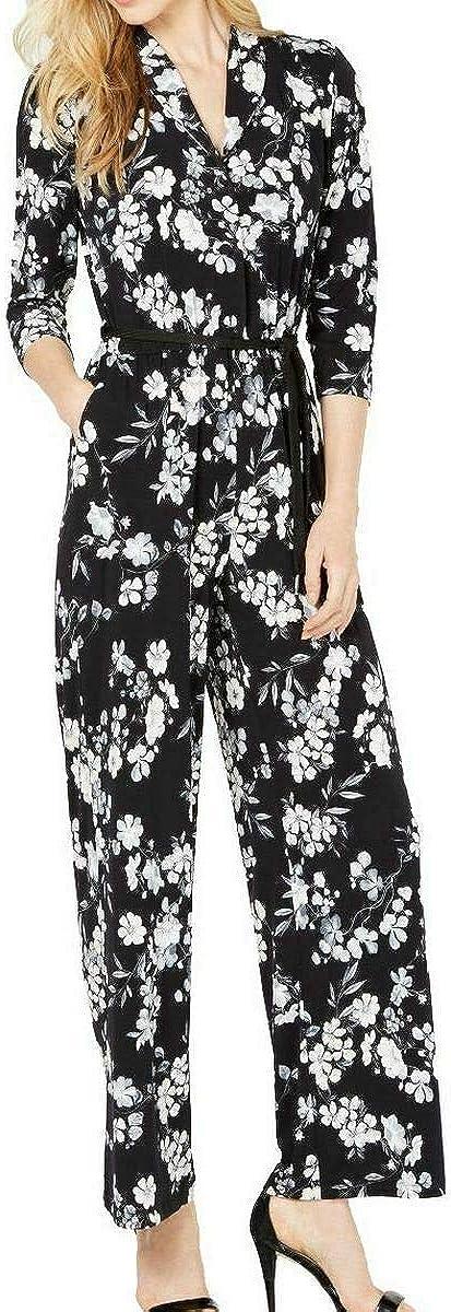 Calvin Klein Women's Long Sleeve Jumpsuit ショップ Waist with 卓抜 Elastic