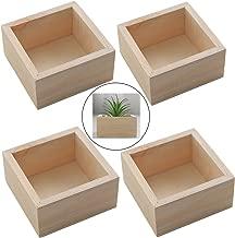 HAN SHENG 4 PCS Rustic Wooden Box Storage Organizer Craft Box for Collectibles Home Venue Decor Succulents