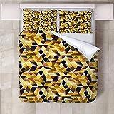 ARTEZXX Ropa de Cama 3D - Estéreo 3D Cuadrado Amarillo Estampado Moderno Funda de Edredón y Funda de Almohada Proporcionar un Ambiente Confortable para Dormir Súper Rey