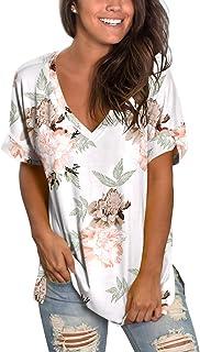 SAMPEEL Women's V Neck T Shirt High Low Side Split Tunic Tops