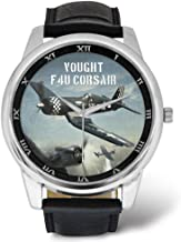 Vought F4U Corsair - Mens Military Watch, Leather Strap Large Dial