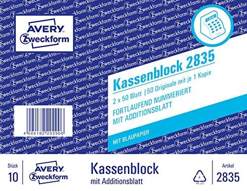 Preisvergleich Produktbild AVERY Zweckform 2835 Kassenblock (100x160mm,  mit 1 Blatt Blaupapier,  von Rechtsexperten geprüft,  für Deutschland u. Österreich zur handschriftlichen Abrechnung im Verkauf