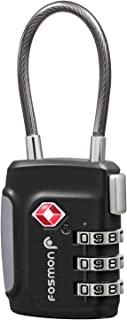 Fosmon TSA Approved Cable Luggage Locks, (1 Pack) Re-settable Easy to Read 3 Digit Combination with Alloy Body and Release Button for Travel Bag, Suit Case & Luggage - Black