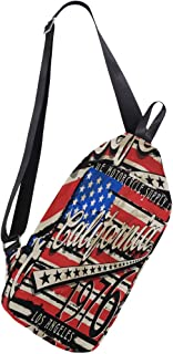 Mochila de Hombro Estilo Bandera de California amaricana, Bandolera, Bolsa Cruzada, para Viajes, Senderismo, para Hombres y Mujeres