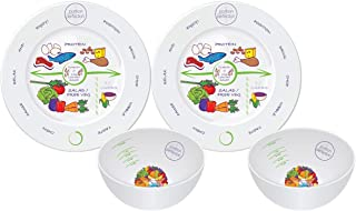 Bariatric Surgery Bowl And Plate Set In Porcelain (2 Measuring Bowls & Plates) By Portion Plate Perfection Dietitian Helps Avoid Weight Regain After Gastric Bypass, Sleeve Gastrectomy Or Lapband