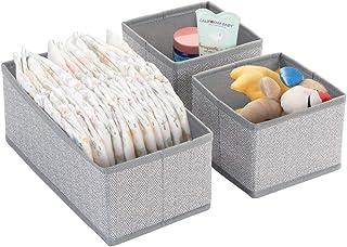 mDesign Boite de Rangement pour vêtements, Accessoires pour bébé (Set de 3) – Boite en Tissu pour Chambre d'enfant – Modul...