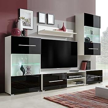 Tidyard Mueble Salón Comedor Moderno Mesa para TV Mueble TV de Pared con LED y 2 Gabinetes,Estilo Moderno,Decorativo para Su Salón,240x40x195cm Negro: Amazon.es: Hogar