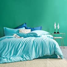 MILDLY Solid Color Aqua Cyan Duvet Cover Sets Luxury Queen Comforter Cover with 2 Pillow Shams 100% Egyptian Cotton (No Co...