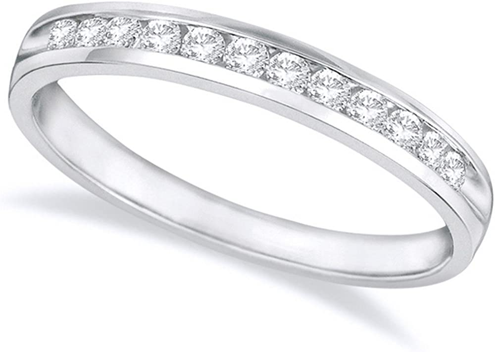 1//2ct Diamond Ring Half Eternity Wedding Band 14K White Gold