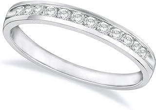 3/4 Carat (ctw) 14K White Gold Round Diamond Ladies Channel Set Half-Way Semi-Eternity Wedding Anniversary Stackable Ring ...