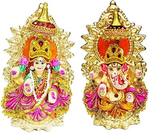 Lord Ganesha und Lakshmi Tonstatue für Diwali / Deepawali Pooja Puja, Laxmi Ganesh Idol Deewali, 15,2 cm